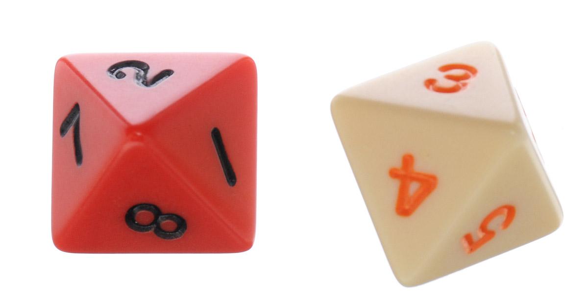 Koplow Games Набор игральных костей Простые D8 цвет бежевый красный 2 шт2547_ бежевый, красныйНабор игральных костей Koplow Games Простые D8 предназначен для настольных игр. Набор состоит из двух восьмигранных костей. На каждую треугольную грань игральной кости нанесены числа от 1 до 8. С помощью игральной кости происходит определение случайного числа, выпадение каждого из которых является равновозможным благодаря правильной геометрической форме. Игральные кости выполнены из прочного пластика.