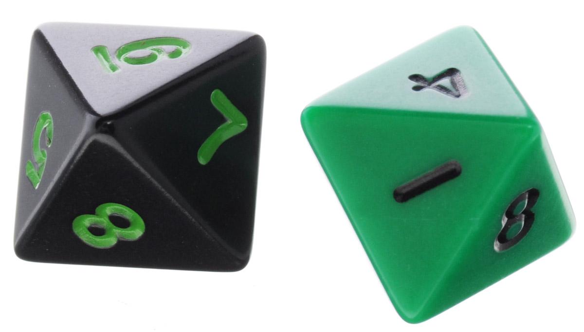 Koplow Games Набор игральных костей Простые D8 цвет черный зеленый 2 шт2547_ черный, зеленыйНабор игральных костей Koplow Games Простые D8 предназначен для настольных игр. Набор состоит из двух восьмигранных костей. На каждую треугольную грань игральной кости нанесены числа от 1 до 8. С помощью игральной кости происходит определение случайного числа, выпадение каждого из которых является равновозможным благодаря правильной геометрической форме. Игральные кости выполнены из прочного пластика.