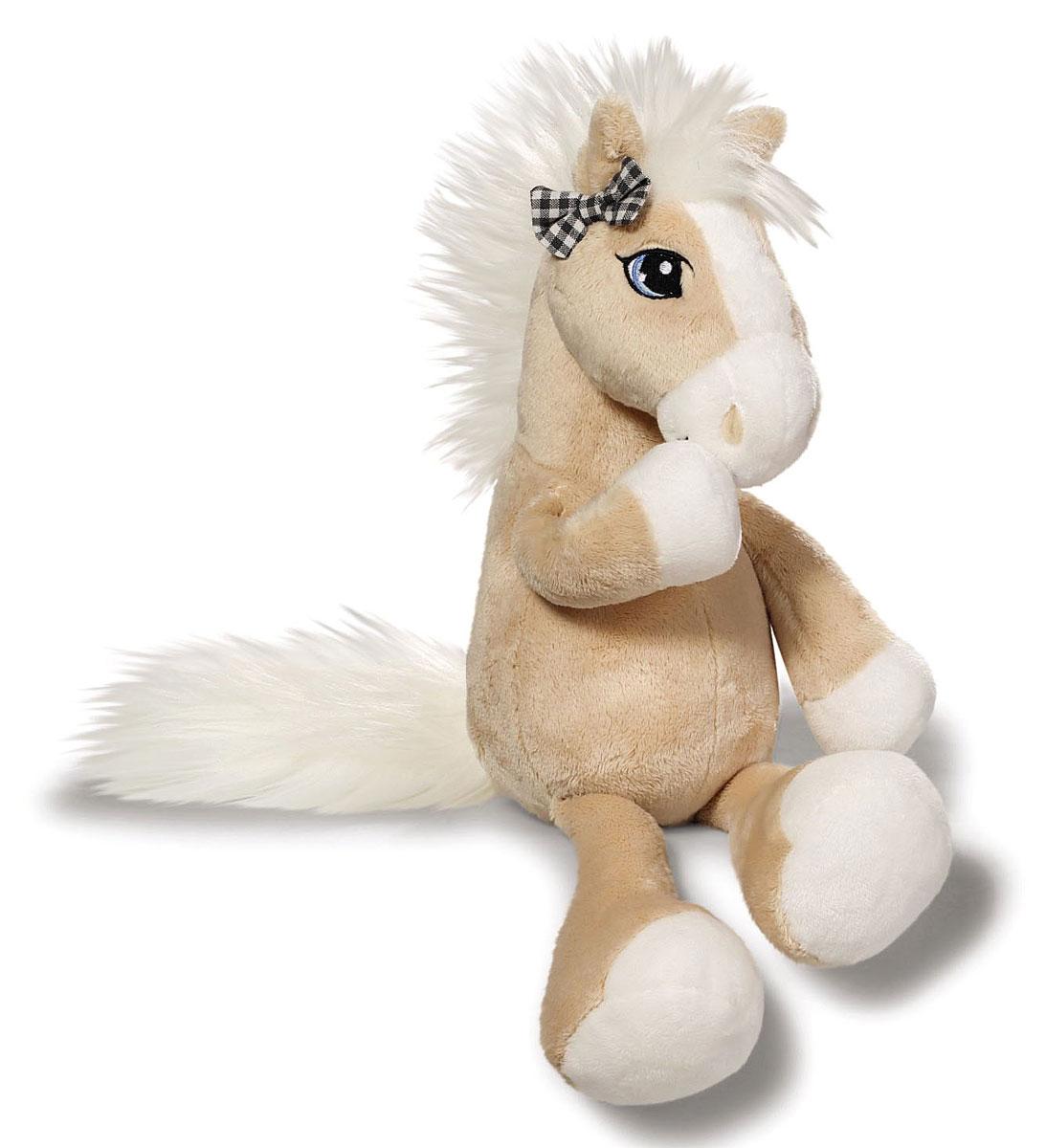 Nici Мягкая игрушка Лошадка Даймонд с бантиком цвет бежевый белый 35 см37839Очаровательная мягкая игрушка Nici Лошадка Даймонд выполнена в виде симпатичной плюшевой лошадки. Игрушка изготовлена из высококачественного текстильного материала бежевого цвета. Игрушка невероятно мягкая и приятная на ощупь, вам не захочется выпускать ее из рук. Глазки лошадки вышиты, а хвостик и грива выполнены из искусственного меха. Ушко лошадки украшает кокетливый бантик. Удивительно мягкая игрушка принесет радость и подарит своему обладателю мгновения нежных объятий и приятных воспоминаний. Великолепное качество исполнения делают эту игрушку чудесным подарком к любому празднику. Трогательная и симпатичная, она непременно вызовет улыбку у детей и взрослых.