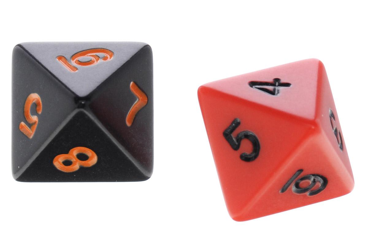 Koplow Games Набор игральных костей Простые D8 цвет черный красный 2 шт