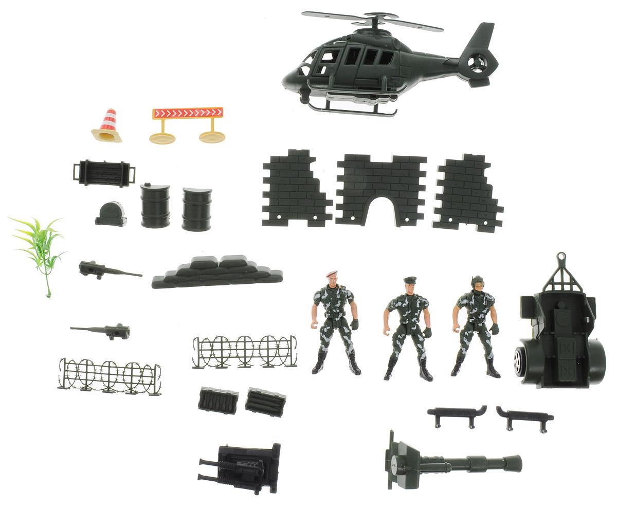 Junfa Toys Игровой набор Солдатики с вертолетом5508JВот это да! Теперь у вашего маленького полководца появится целая армия для игры в войнушку. Вы можете быть абсолютно уверены, что сражения будут безопасными для вашего ребенка, ведь все изделия изготовлены из высококачественных нетоксичных материалов и абсолютно безопасны. Три солдатика в униформе с подвижными руками, ногами и головой обязательно пригодятся маленькому главнокомандующему для проведения спецопераций. Кроме солдатиков в комплекте есть вертолет, военная тележка, оружие и множество аксессуаров. Такой набор разнообразит игры вашего малыша и не даст ему заскучать.