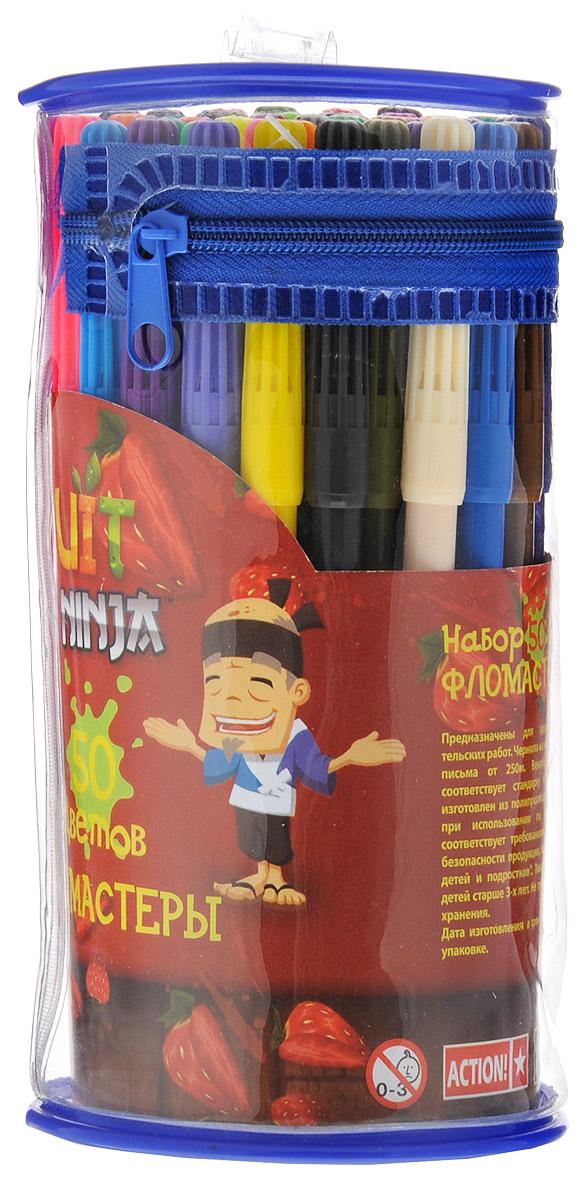 Action! Набор фломастеров Fruit Ninja 50 цветовFN-AWP105-50_2Фломастеры Action! Fruit Ninja, предназначенные для художественно-оформительских работ, обязательно порадуют вашего юного художника и помогут создать ему неповторимые и яркие картинки. Набор включает в себя 50 фломастеров ярких насыщенных цветов в разноцветных корпусах. Специальные чернила на водной основе легко смываются с кожи и удаляются с большинства тканей. Корпус фломастеров изготовлен из полипропилена, а вентилируемый колпачок увеличивает срок службы чернил и предотвращает их преждевременное высыхание. Рекомендуемый возраст: от 3 лет.