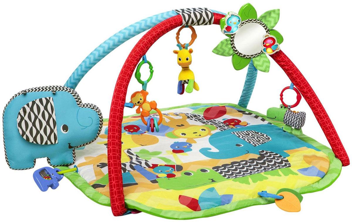 Bright Starts Развивающий коврик Сафари52036Развивающий коврик Bright Starts Сафари стимулирует развитие координации движений и моторику ребенка. Коврик имеет 8 игрушек: плюшевый жираф с гибкой шеей, погремушки - обезьянка с колечками, слоник, аллигатор, 2 листика-прорезывателя, а также 6 цветных колечек, которые могут использоваться для подвески игрушек или для создания цепочки. На одной из дуг расположено безопасное зеркало в форме цветочка, который светится и проигрывает мелодии. Музыка звучит 20 минут. Высоту цветочка можно регулировать. Веселое зеркало, благодаря специальной ручке, можно взять с собой на прогулку. Эту игрушку легко прикрепить к кроватке, коляске, сумке-кенгуру, или в другом выбранном месте. Плюшевый слон-подушечка поддерживает ребенка во время игры на животике. Ребенок может играть на коврике 3 способами: лежа на спине, играя с игрушками; лежа на животике, тренируя мышцы и знакомясь с отражением в зеркале; после снятия дуг, сидя играя с...