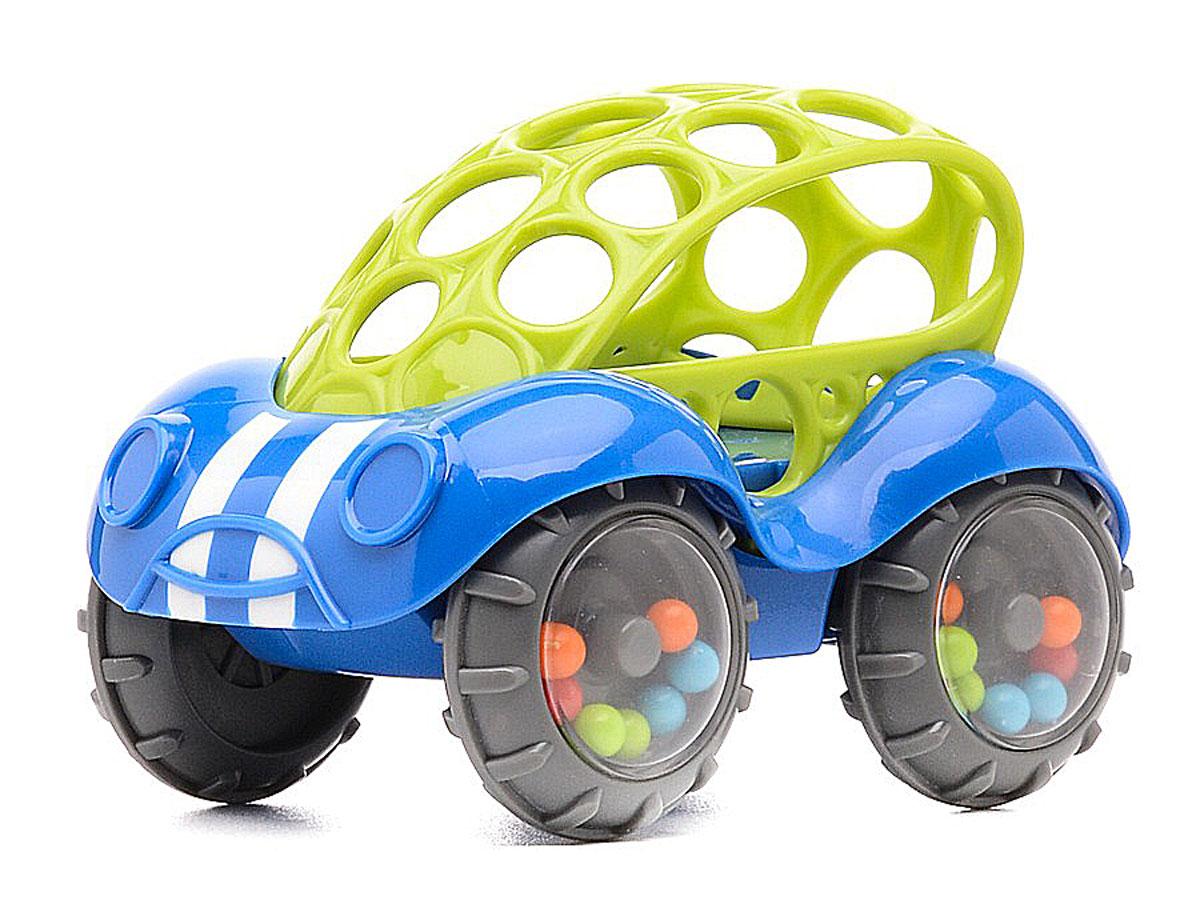 Oball Развивающая машинка-игрушка цвет синий81510-2Яркая развивающая машинка-игрушка Oball изготовлена из абсолютно безопасных для ребенка ярких материалов. У машинки округлой формы крыша из гнущегося пластика вся в отверстиях, благодаря чему ее удобно катать. Мягкие рельефные детали крыши можно кусать, они успокоят нежные десны малыша. На колесах - прозрачные диски, под которыми видны разноцветные шарики. Машина едет, шарики перекатываются и задорно гремят. Такую игрушку легко хватать маленькими ручками. Развивающая машинка Oball способствует развитию цветового и звукового восприятия и мелкой моторики рук.