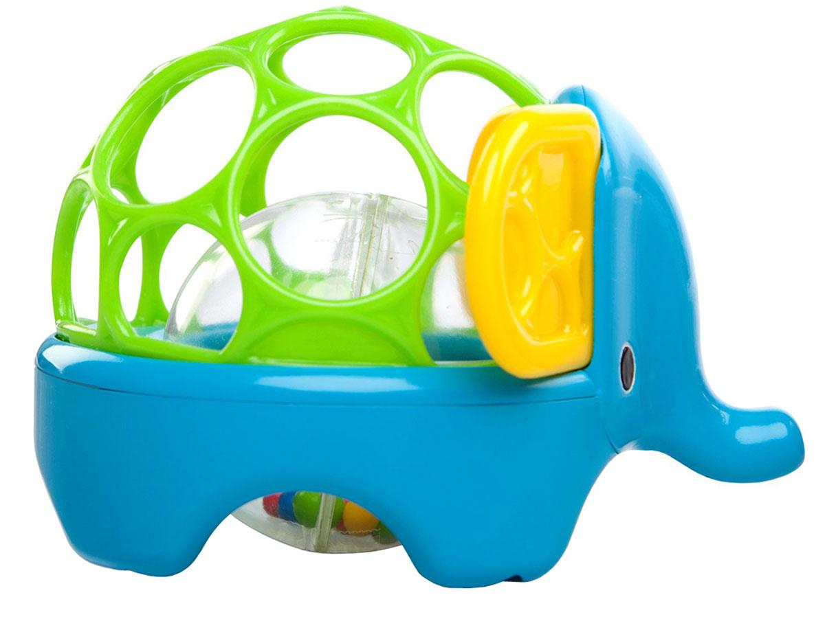 Oball Погремушка Зоопарк Слон81517-2Яркая погремушка Oball выполнена в ярком красочном дизайне и полностью безопасна для ребенка, так как не имеет острых и мелких деталей. Погремушка выполнена в виде голубого слоненка с большими ушками. Круглая спинка слоненка изготовлена с крупными отверстиями, за которые так удобно браться маленькими ручками. Внутри игрушки находится прозрачный шар с яркими цветными горошинками. Горошинки перекатываются и забавно шумят. Погремушка Oball развивает пространственное мышление, цветовое и звуковое восприятие, тактильные ощущения, ловкость и координацию движений.