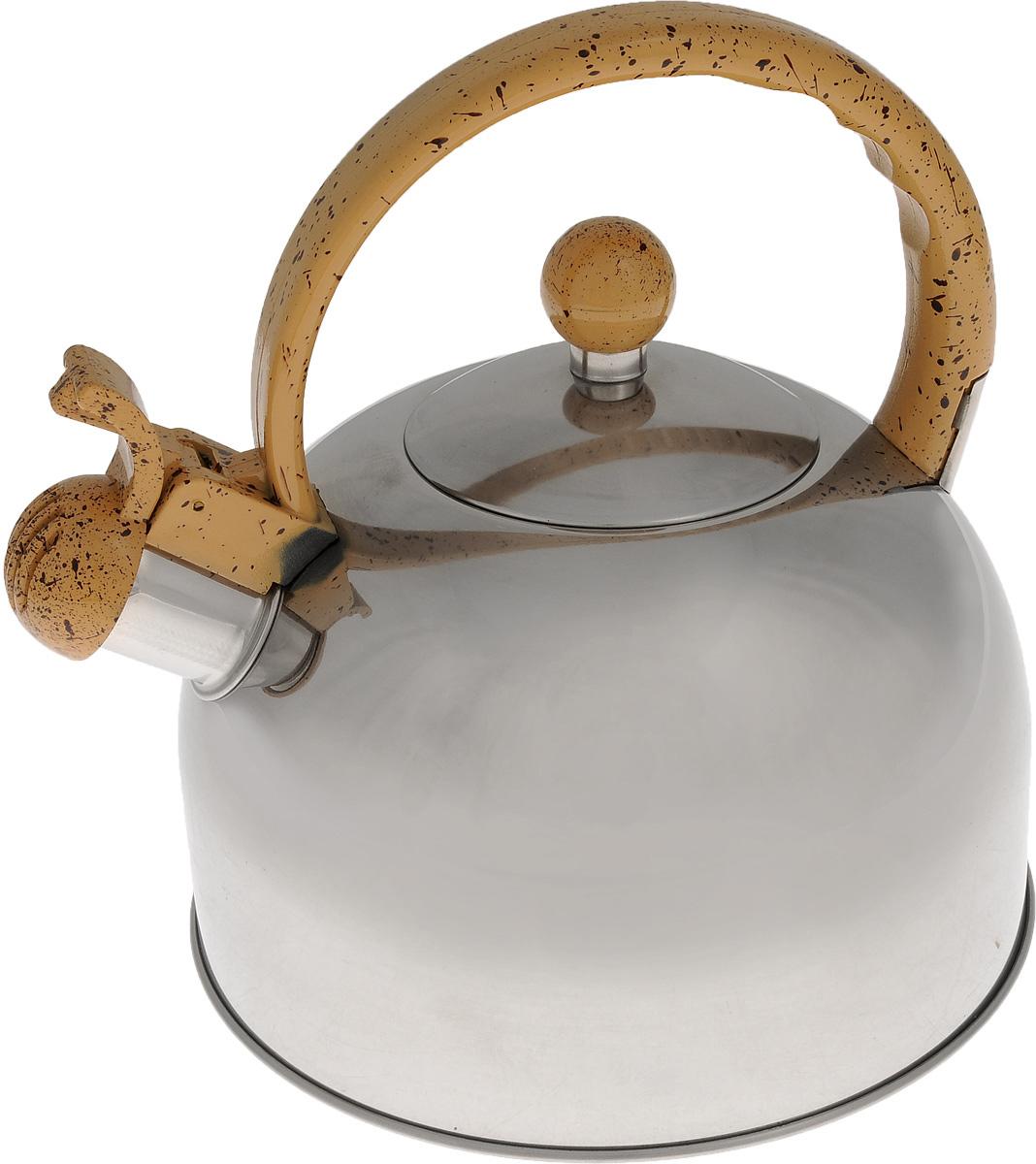 Чайник Bekker Koch со свистком, цвет: бежевый, 2,5 л. BK-S307BK-S307_бежевыйЧайник Bekker Koch выполнен из высококачественной нержавеющей стали, что обеспечивает долговечность использования. Внешнее зеркальное покрытие придает приятный внешний вид. Пластиковая фиксированная ручка, выполненная под мрамор, делает использование чайника очень удобным и безопасным. Чайник снабжен свистком и устройством для открывания носика. Изделие оснащено капсулированным дном для лучшего распространения тепла. Можно мыть в посудомоечной машине. Пригоден для всех видов плит кроме индукционных. Высота чайника (без учета крышки и ручки): 11,5 см. Диаметр основания: 19 см. Толщина стенки: 3 мм.