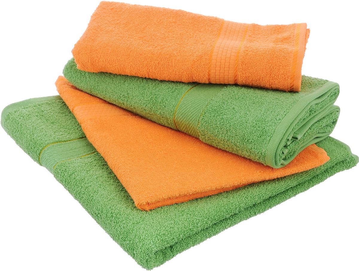 Набор махровых полотенец Aisha Home Textile, цвет: оранжевый, зеленый, 4 штУзТ-ПМ-103-27-08Набор Aisha Home Textile состоит из четырех полотенец, выполненных из натуральной махровой ткани (100% хлопка). Лаконичные бордюры подойдут для любого интерьера ванной комнаты. Изделия отлично впитывают влагу, быстро сохнут, сохраняют яркость цвета и не теряют формы даже после многократных стирок. Полотенца Aisha Home Textile очень практичны и неприхотливы в уходе. Комплектация: 4 шт.