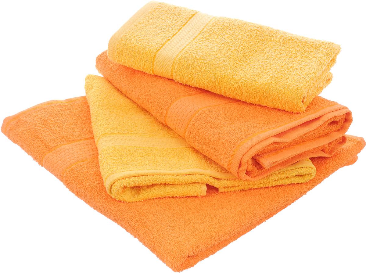 Набор махровых полотенец Aisha Home Textile, цвет: желтый, оранжевый, 4 штУзТ-ПМ-103-21-27Набор Aisha Home Textile состоит из четырех полотенец, выполненных из натуральной махровой ткани (100% хлопка). Лаконичные бордюры подойдут для любого интерьера ванной комнаты. Изделия отлично впитывают влагу, быстро сохнут, сохраняют яркость цвета и не теряют формы даже после многократных стирок. Полотенца Aisha Home Textile очень практичны и неприхотливы в уходе. Комплектация: 4 шт.