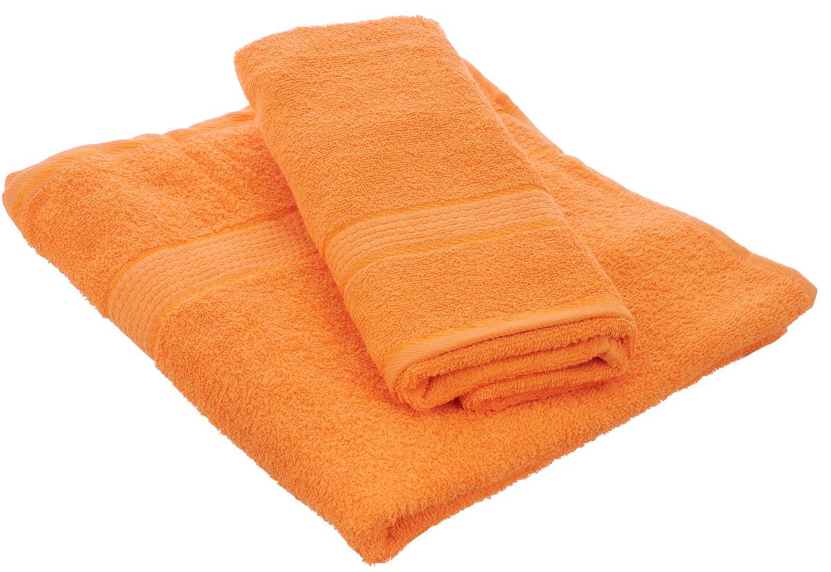 Набор махровых полотенец Aisha Home Textile, цвет: оранжевый, 2 шт. УзТ-НПМ-102УзТ-НПМ-102-27Набор Aisha Home Textile состоит из двух полотенец разного размера, выполненных из натуральной махровой ткани (100% хлопка). Лаконичные бордюры подойдут для любого интерьера ванной комнаты. Изделия отлично впитывают влагу, быстро сохнут, сохраняют яркость цвета и не теряют формы даже после многократных стирок. Полотенца Aisha Home Textile очень практичны и неприхотливы в уходе. Комплектация: 2 шт.