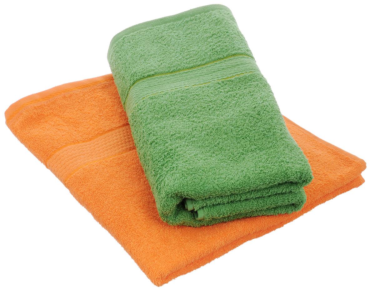 Набор махровых полотенец Aisha Home Textile, цвет: зеленый, оранжевый, 70 х 140 см, 2 штУзТ-ПМ-104-08-27Набор Aisha Home Textile состоит из двух полотенец, выполненных из натуральной махровой ткани (100% хлопка). Изделия отлично впитывают влагу, быстро сохнут, сохраняют яркость цвета и не теряют формы даже после многократных стирок. Полотенца Aisha Home Textile очень практичны и неприхотливы в уходе. Комплектация: 2 шт.