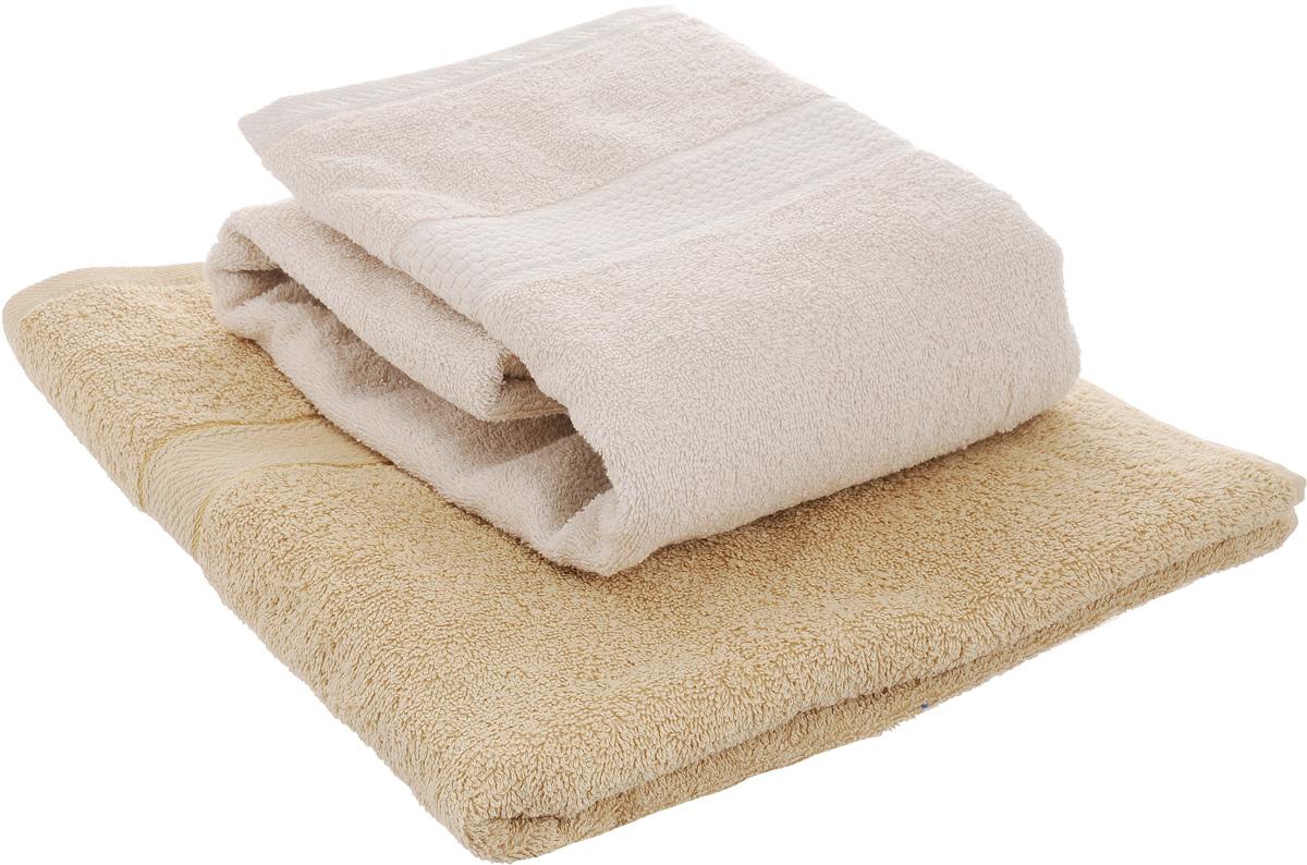 Набор махровых полотенец Aisha Home Textile, цвет: кофе с молоком, песочный, 70 х 140 см, 2 штУзТ-ПМ-104-03-23Набор Aisha Home Textile состоит из двух полотенец, выполненных из натуральной махровой ткани (100% хлопка). Изделия отлично впитывают влагу, быстро сохнут, сохраняют яркость цвета и не теряют формы даже после многократных стирок. Полотенца Aisha Home Textile очень практичны и неприхотливы в уходе. Комплектация: 2 шт.