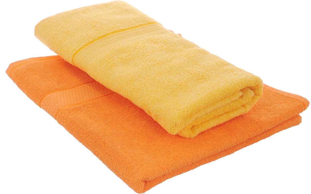Набор махровых полотенец Aisha Home Textile, цвет: оранжевый, желтый, 70 х 140 см, 2 штУзТ-ПМ-104-27-21Набор Aisha Home Textile состоит из двух полотенец, выполненных из натуральной махровой ткани (100% хлопка). Изделия отлично впитывают влагу, быстро сохнут, сохраняют яркость цвета и не теряют формы даже после многократных стирок. Полотенца Aisha Home Textile очень практичны и неприхотливы в уходе. Комплектация: 2 шт.