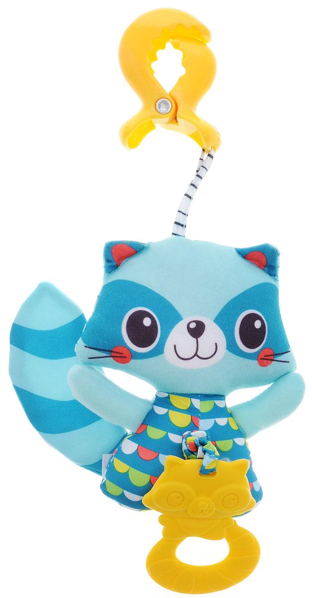 Tiny Love Мягкая игрушка-подвеска Енот1112601110Мягкая игрушка-подвеска Tiny Love Енот выполнена из текстильного материала в виде забавного бирюзового енота. К игрушке крепится текстильная веревочка с мягким прорезывателем. Если игрушку потянуть вниз, то она начнет вибрировать до тех пор, пока веревочка не вернется в исходное положение. С помощью пластиковой прищепки игрушку легко можно прикрепить к кроватке, коляске или игровой дуге малыша. Мягкая игрушка-подвеска Tiny Love Енот поможет ребенку в развитии цветового и звукового восприятия, мелкой моторики рук, координации движений и тактильных ощущений. Уход: влажная обработка при температуре не выше 30 градусов, использовать моющие средства, предназначенные для детей до трех лет.