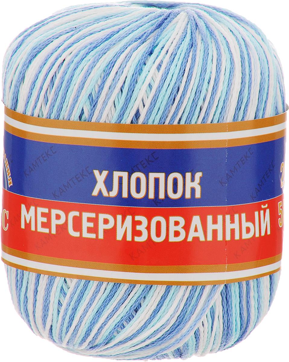 Пряжа для вязания Камтекс Хлопок мерсеризованный, цвет: белый, синий, голубой (241), 200 м, 50 г, 10 шт582166_241Пряжа для вязания Камтекс Хлопок мерсеризованный изготовлена из 100% хлопка. Лучшие свойства хлопка: Хлопок мерсеризованный - благодаря тому, что хлопок прошел обработку под названием мерсеризация, пряжа приобретает блеск, ее легко окрасить в яркие устойчивые цвета; - мерсеризованные нити прочнее обычных, а изделия из них меньше мнутся при носке и не садятся при стирке. Такая пряжа предназначена для вязания блузок, футболок, платьев и многого другого. Связанные вещи отличаются стойким цветом, благородным блеском, экологичностью и долговечностью. Элегантность, прочность, комфорт - приятные свойства новых технологий. Подходит для вязания на спицах и крючках 2-4 мм. Состав: 100% хлопок.