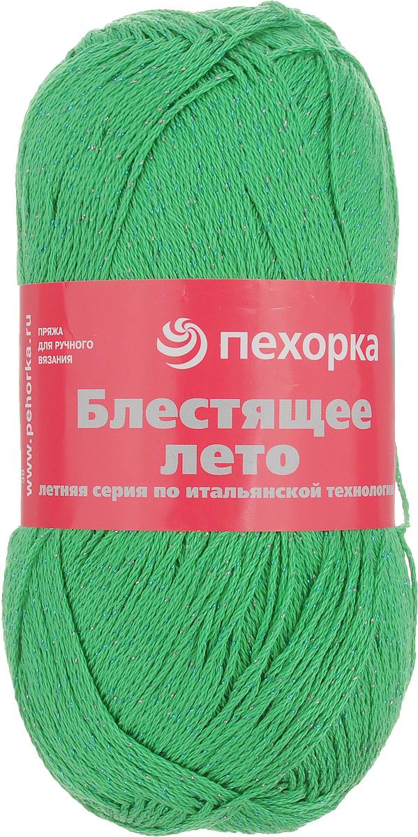 Пряжа для вязания Пехорка Блестящее лето, цвет: зеленый (434), 380 м, 100 г, 5 шт360077_434_434 зеленыйПряжа для вязания Пехорка Блестящее лето изготовлена из 95% мерсеризованного хлопка и 5% метанита. Добавление метанита придает пряже эффект мерцающего металлического блеска. Такая пряжа идеально подходит для вязания нарядных вечерних изделий. Связанный трикотаж получается теплый, добротный, мягкий и красивый. Рекомендованные спицы и крючок для вязания 2 мм. С такой пряжей для ручного вязания вы сможете связать своими руками необычные и красивые вещи.