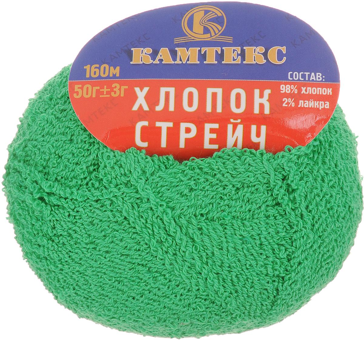 Пряжа для вязания Камтекс Хлопок стрейч, цвет: зеленый (110), 160 м, 50 г, 10 шт136077_110Пряжа для ручного вязания Хлопок стрейч изготовлена из хлопка и лайкры в две нити. Оптимальная длина нити в мотке та, какую любят большинство рукодельниц. Пряжа имеет интересное переплетение, стабильна в полотне, ложится красивой и эффектной фактурой. Гигиенична, гигроскопична, приятна для тела. Прекрасный вариант для вязания летней одежды. С такой пряжей для ручного вязания вы сможете связать своими руками необычные и красивые вещи. Рекомендованные спицы и крючок для вязания 2-5 мм. Состав: 98% хлопок, 2% лайкра. Толщина нити: 1,5 мм.