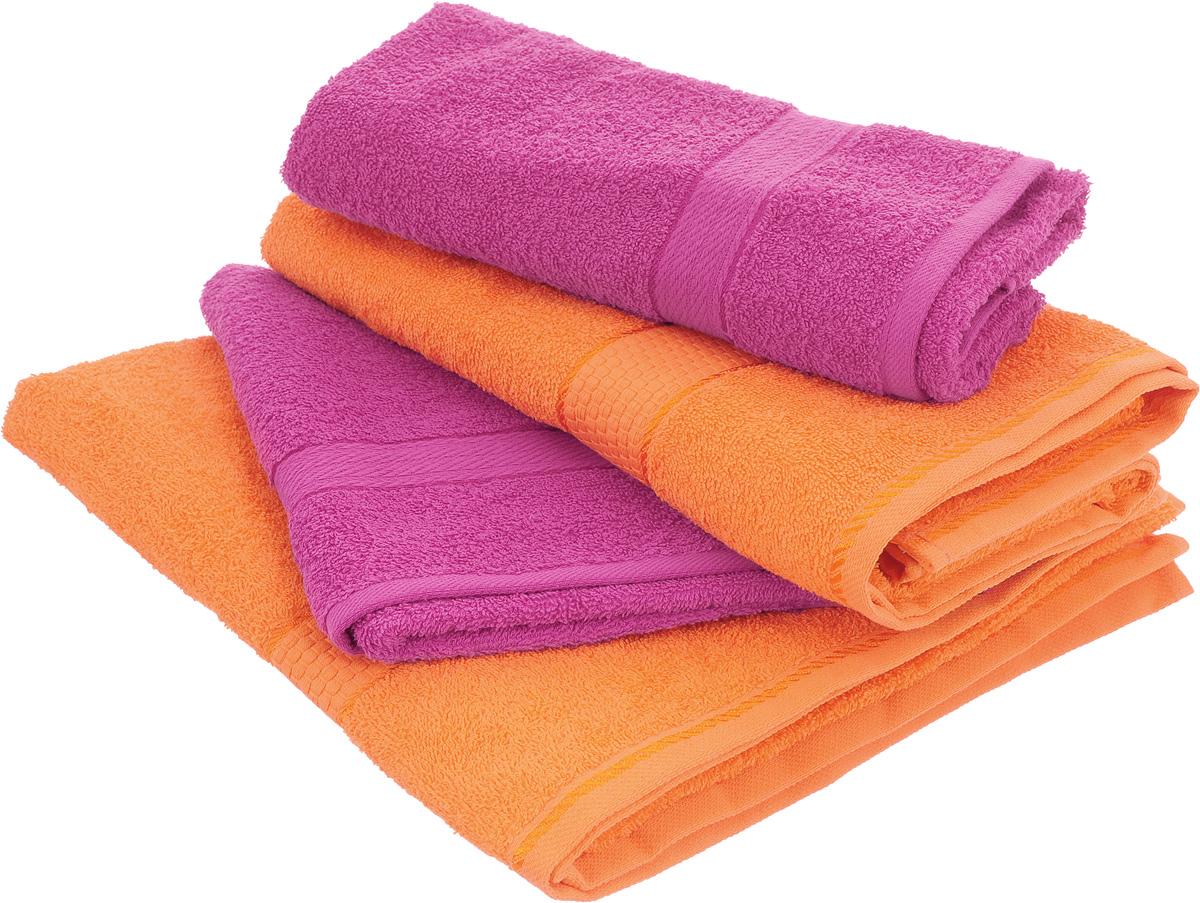 Набор махровых полотенец Aisha Home Textile, цвет: оранжевый, малиновый, 4 штУзТ-ПМ-103-28-27Набор Aisha Home Textile состоит из четырех полотенец, выполненных из натуральной махровой ткани (100% хлопка). Лаконичные бордюры подойдут для любого интерьера ванной комнаты. Изделия отлично впитывают влагу, быстро сохнут, сохраняют яркость цвета и не теряют формы даже после многократных стирок. Полотенца Aisha Home Textile очень практичны и неприхотливы в уходе. Комплектация: 4 шт.