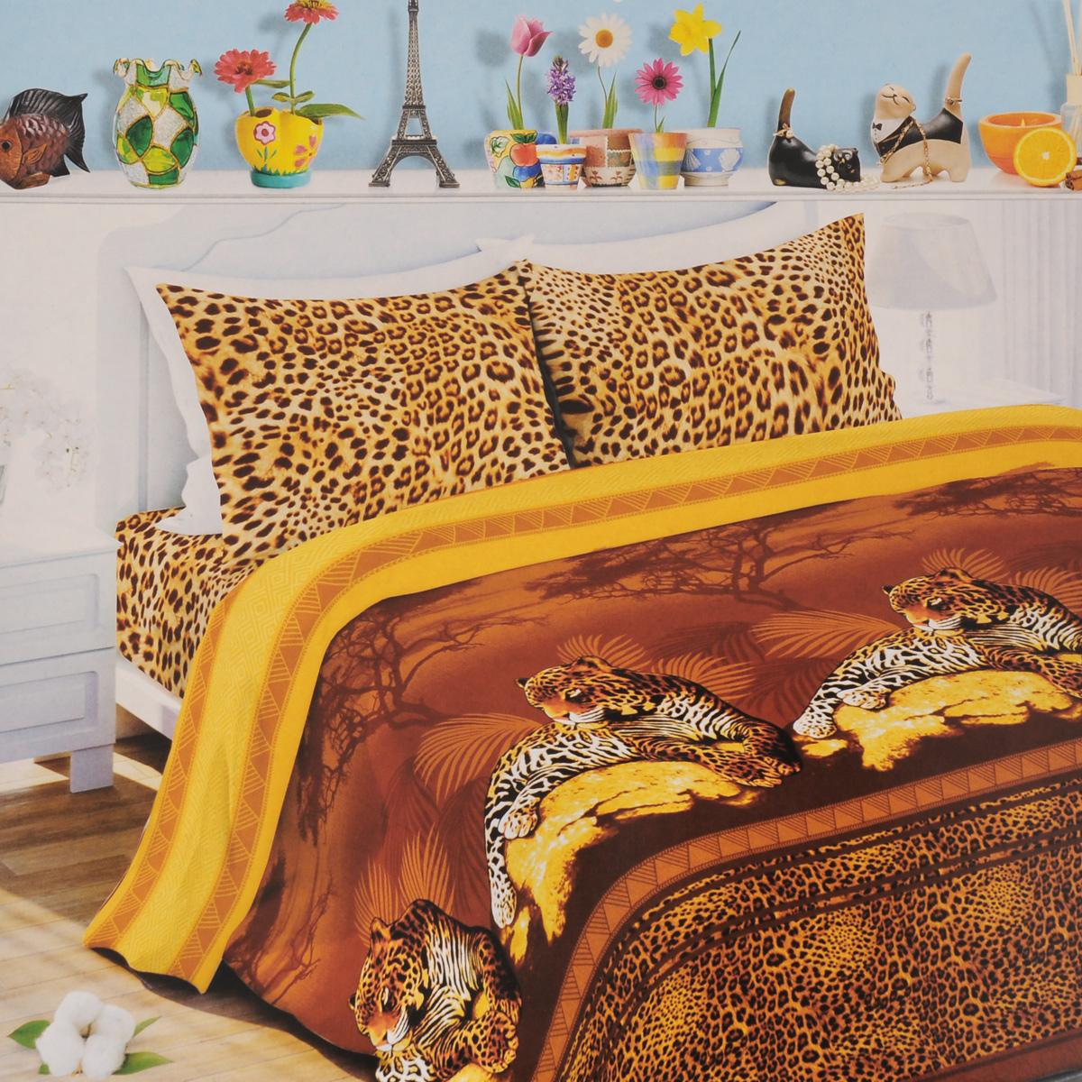 Комплект белья Любимый дом Камерун, 2-спальный, наволочки 70х70, цвет: коричневый, желтый, темно-коричневый. 321418321418Комплект постельного белья Любимый дом Камерун состоит из пододеяльника, простыни и двух наволочек. Постельное белье оформлено оригинальным рисунком и имеет изысканный внешний вид. Белье изготовлено из новой ткани Биокомфорт, отвечающей всем необходимым нормативным стандартам. Биокомфорт - это ткань полотняного переплетения, из экологически чистого и натурального 100% хлопка. Неоспоримым плюсом белья из такой ткани является мягкость и легкость, она прекрасно пропускает воздух, приятна на ощупь, не образует катышков на поверхности и за ней легко ухаживать. При соблюдении рекомендаций по уходу, это белье выдерживает много стирок, не линяет и не теряет свою первоначальную прочность. Уникальная ткань обеспечивает легкую глажку. Приобретая комплект постельного белья Любимый дом Камерун, вы можете быть уверены в том, что покупка доставит вам и вашим близким удовольствие и подарит максимальный комфорт.
