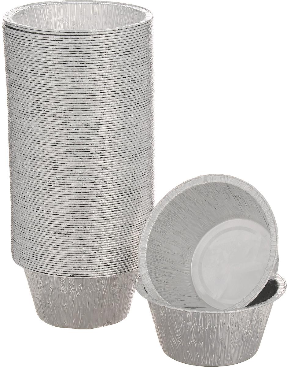 Набор форм для запекания Формация, 8,5 х 8,5 х 4 см, 100 шт. CN21GФЛГ15473Набор форм Формация, выполненный из алюминиевой фольги, идеально подходит для кексов и пирогов. Изделия обладают всеми свойствами обычной фольги для запекания: гигиеничные, легкие, прочные, теплопроводные. Также формы можно использовать для запекания, для хранения и заморозки продуктов.