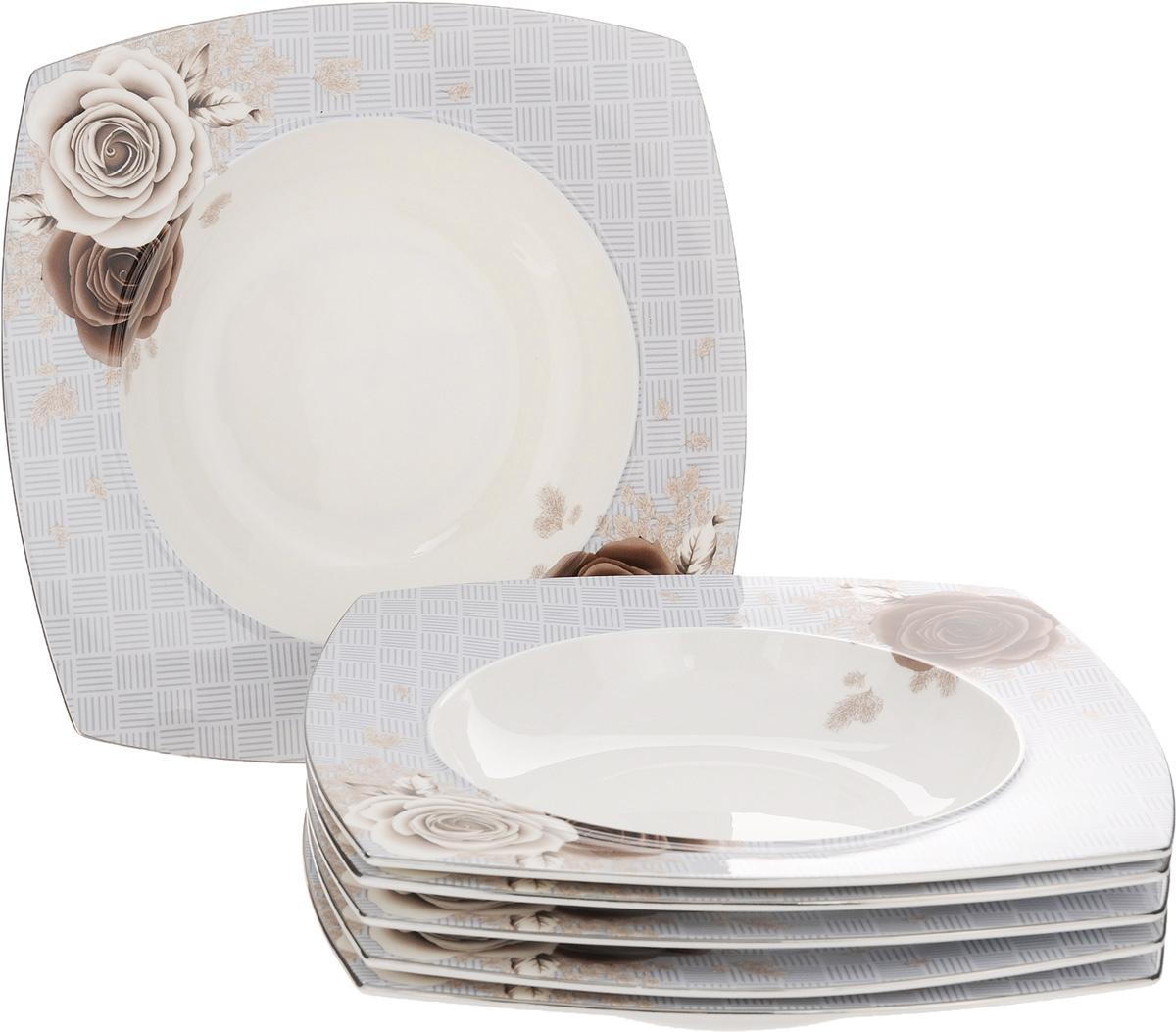 Набор суповых тарелок Family & Friends Дэниш, 25 х 25 см, 6 штPR7987нНабор Family & Friends Florance, выполненный из фарфора, состоит из 6 глубоких квадратных тарелок и предназначен для красивой сервировки первых блюд. Изделия украшены изящным рисунком. Набор сочетает в себе стильный дизайн с максимальной функциональностью. Оригинальность оформления придется по вкусу и ценителям классики, и тем, кто предпочитает утонченность и изящность. Внутренний диаметр тарелки: 17,5 см. Размер тарелки: 25 х 25 х 4,5 см.