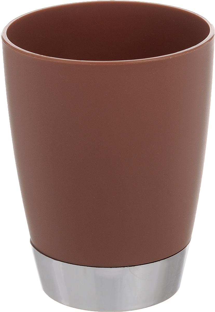 Стакан для ванной комнаты Fresh Code Настроение, цвет: коричневый, 300 мл64923_коричневыйСтакан для ванной комнаты Fresh Code Настроение изготовлен из высококачественного полипропилена. В нем удобно хранить зубные щетки, тюбики с зубной пастой и другие принадлежности. Такой аксессуар для ванной комнаты стильно украсит интерьер, а также добавит в обычную обстановку яркие и модные акценты. Диаметр стакана (по верхнему краю): 8 см. Высота стакана: 10 см.