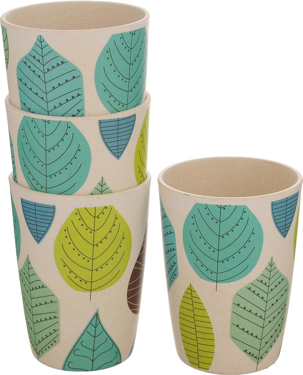 Набор стаканов EcoWoo Листья, 300 мл, 4 шт2007027U-4Набор EcoWoo Листья состоит из 4 стаканов, выполненных из экологически чистого бамбукового волокна. Такие стаканы имеют неоспоримые преимущества по сравнению со стаканами из других материалов. Они безопасные, биоразлагаемые, небьющиеся. Стильный дизайн прекрасно впишется в интерьер современной кухни. Можно мыть в посудомоечной машине. Диаметр стакана по верхнему краю: 8 см. Высота стакана: 11 см.