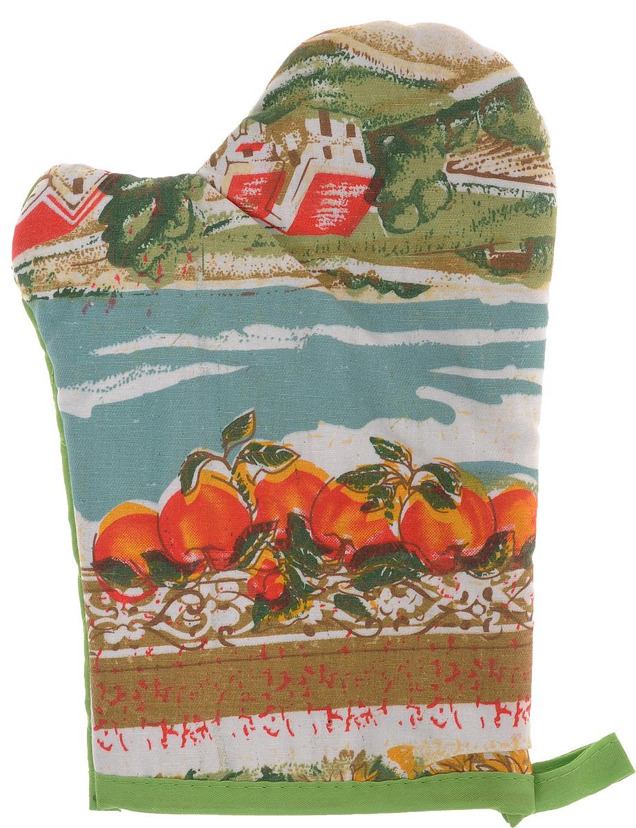Варежка-прихватка Home Queen Яблоки, 17 х 27 см57377_салатовый яблокиВарежка-прихватка Home Queen Яблоки - незаменимый помощник на любой кухне. Варежка выполнена из натурального 100% хлопка и оформлена красивым рисунком в виде яблок и фермерских полей с лицевой стороны. Задняя сторона простегана, что позволяет наполнителю не скатываться со временем. Варежка мягкая, удобная и практичная. С ее помощью можно доставать горячие противни из духовки, она защитит ваши руки и предотвратит появление ожогов. Красочный дизайн позволит красиво дополнить интерьер кухни. С помощью петельки варежку можно подвесить на крючок.