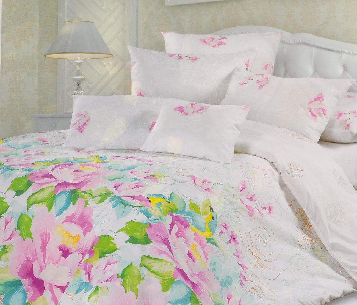 Комплект белья Унисон Парадиз, 2-спальный, наволочки 70х70, цвет: белый, розовый, зеленый297238Комплект постельного белья Унисон Парадиз состоит из пододеяльника, простыни и двух наволочек. Постельное белье оформлено оригинальным ярким изображением цветов. Такой дизайн придется по душе каждому. Белье изготовлено из новой ткани Биоматин, отвечающей всем необходимым нормативным стандартам. Биоматин - это ткань полотняного переплетения, из экологически чистого и натурального 100% хлопка. Неоспоримым плюсом белья из такой ткани является мягкость и легкость, она прекрасно пропускает воздух, приятна на ощупь и за ней легко ухаживать. При соблюдении рекомендаций по уходу, это белье выдерживает много стирок, не линяет и не теряет свою первоначальную прочность. Уникальная ткань обеспечивает легкую глажку. Приобретая комплект постельного белья Унисон Парадиз, вы можете быть уверены в том, что покупка доставит вам и вашим близким удовольствие и подарит максимальный комфорт.