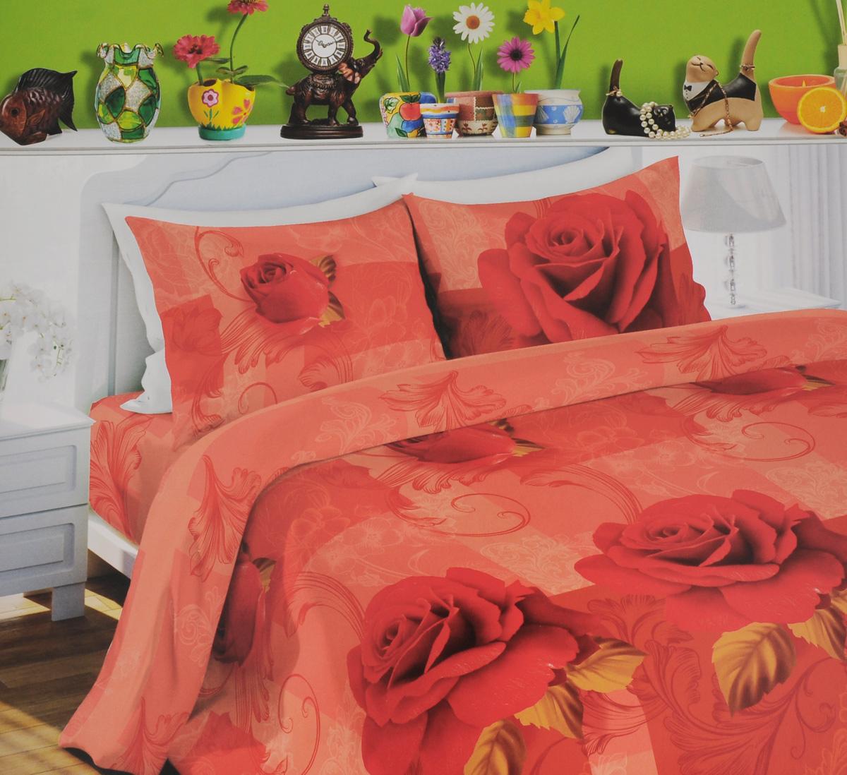 Комплект белья Любимый дом Роза, 1,5-спальный, наволочки 70х70, цвет: красный, розовый327641Комплект постельного белья Любимый дом Роза состоит из пододеяльника, простыни и двух наволочек. Постельное белье оформлено оригинальным рисунком и имеет изысканный внешний вид. Белье изготовлено из новой ткани Биокомфорт, отвечающей всем необходимым нормативным стандартам. Биокомфорт - это ткань полотняного переплетения, из экологически чистого и натурального 100% хлопка. Неоспоримым плюсом белья из такой ткани является мягкость и легкость, она прекрасно пропускает воздух, приятна на ощупь, не образует катышков на поверхности и за ней легко ухаживать. При соблюдении рекомендаций по уходу, это белье выдерживает много стирок, не линяет и не теряет свою первоначальную прочность. Уникальная ткань обеспечивает легкую глажку. Приобретая комплект постельного белья Любимый дом Роза, вы можете быть уверены в том, что покупка доставит вам и вашим близким удовольствие и подарит максимальный комфорт.