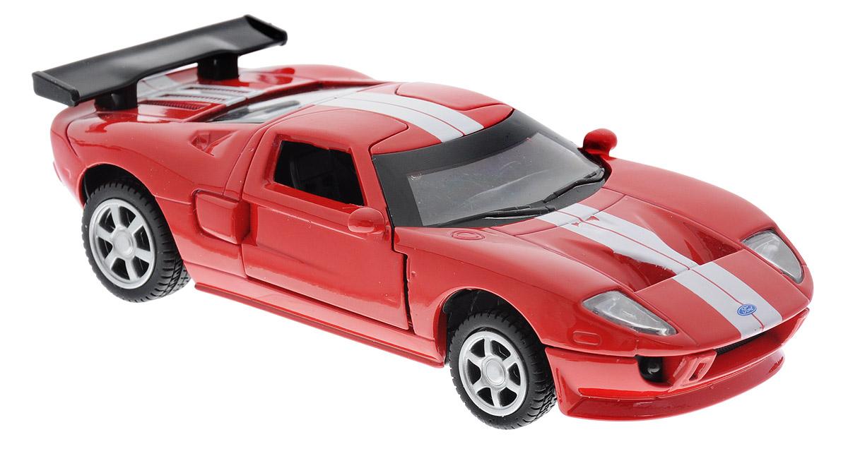 ТехноПарк Модель автомобиля Ford GT цвет красный67311_красныйМодель автомобиля ТехноПарк Ford GT - это точная копия оригинальной машины в масштабе 1:43. Выполненная из высококачественных материалов, она обязательно понравится не только ребенку, но и взрослому. Игрушечная модель оснащена металлическим корпусом и подвижными колесами. Передние двери машинки открываются, салон детализирован. Игрушка оснащена инерционным ходом. Для того чтобы автомобиль поехал вперед, необходимо его отвести назад, а затем резко отпустить. Прорезиненные колеса обеспечивают надежное сцепление с любой поверхностью пола. Машинка является отличным подарком для юного гонщика. Во время игры с такой машинкой у ребенка развиваются мелкая моторика рук, фантазия и воображение.