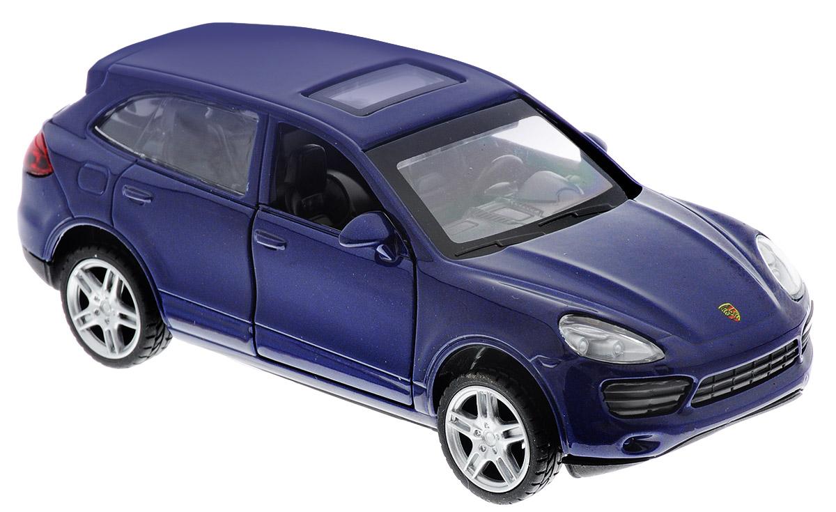 ТехноПарк Модель автомобиля Porsche Сayenne S67302_синийМодель автомобиля ТехноПарк Porsche Сayenne S - это точная копия оригинальной машины в масштабе 1:43. Выполненная из высококачественных материалов, она обязательно понравится не только ребенку, но и взрослому. Игрушечная модель оснащена металлическим корпусом и подвижными колесами. Передние двери машинки открываются, салон детализирован. Игрушка оснащена инерционным ходом. Для того чтобы автомобиль поехал вперед, необходимо его отвести назад, а затем резко отпустить. Прорезиненные колеса обеспечивают надежное сцепление с любой поверхностью пола. Машинка является отличным подарком для юного гонщика. Во время игры с такой машинкой у ребенка развиваются мелкая моторика рук, фантазия и воображение.