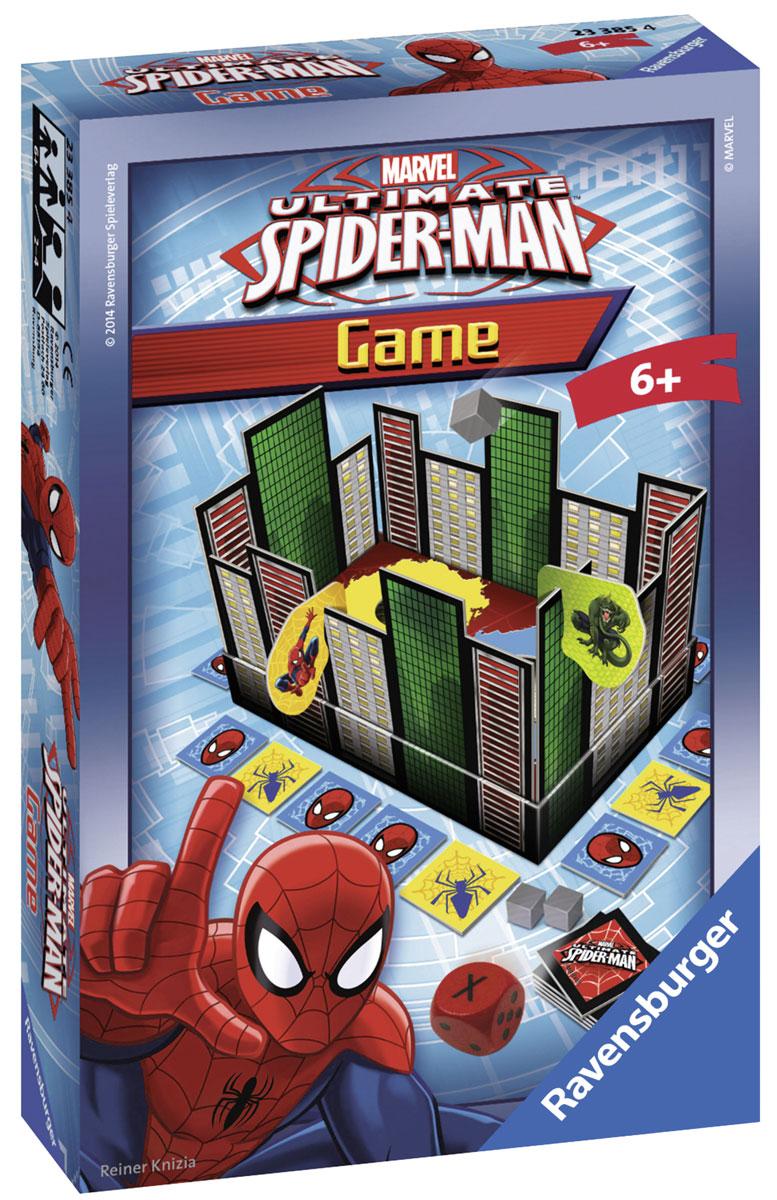 Ravensburger Настольная игра Человек-паук в городе23385Настольная игра Ravensburger Человек-паук в городе поможет ребятам интересным образом провести время и будет способствовать развитию ловкости и умению справляться с трудностями. Игровое поле состоит из карточек-окон, которые устанавливаются на специальные подставки. Каждый игрок выбирает себе по герою и ставит его перед первым этажом здания. Здесь же помещается фишка, кидается кубик. Оборотная сторона каждой карточки-окна показывает действие, которое должен выполнить игрок. Цель игры заключается в том, чтобы первым подняться по стене на крышу здания. Настольная игра замечательно скрасит любую детскую вечеринку!