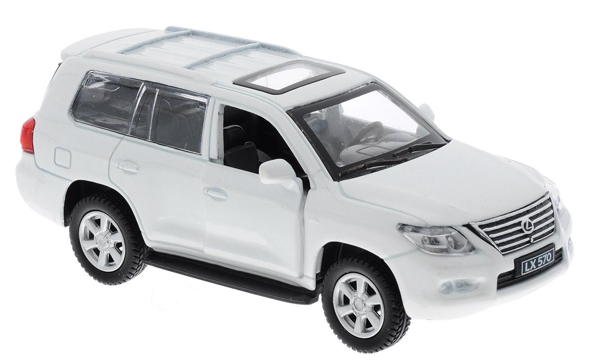 ТехноПарк Модель автомобиля Lexus LX570 цвет белый67308_белыйМодель автомобиля ТехноПарк Lexus LX570 - это точная копия оригинальной машины в масштабе 1:43. Выполненная из высококачественных материалов, она обязательно понравится не только ребенку, но и взрослому. Игрушечная модель оснащена металлическим корпусом и подвижными колесами. Передние двери машинки открываются, салон детализирован. Игрушка оснащена инерционным ходом. Для того чтобы автомобиль поехал вперед, необходимо его отвести назад, а затем резко отпустить. Прорезиненные колеса обеспечивают надежное сцепление с любой поверхностью пола. Машинка является отличным подарком для юного гонщика. Во время игры с такой машинкой у ребенка развиваются мелкая моторика рук, фантазия и воображение.