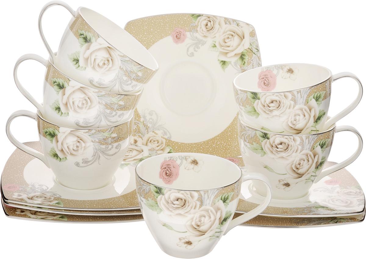 Набор чайный Family & Friends Florance, 12 предметовPR7984нЧайный набор Family & Friends Florance состоит из шести чашек и шести блюдец, выполненных из фарфора. Изделия оформлены изящным цветочным рисунком. Изящный набор эффектно украсит стол к чаепитию и порадует вас функциональностью и ярким дизайном. Объем чашки: 280 мл. Диаметр чашки (по верхнему краю): 9 см. Высота чашки: 7 см. Размер блюдца: 15,5 х 15,5 х 1 см.