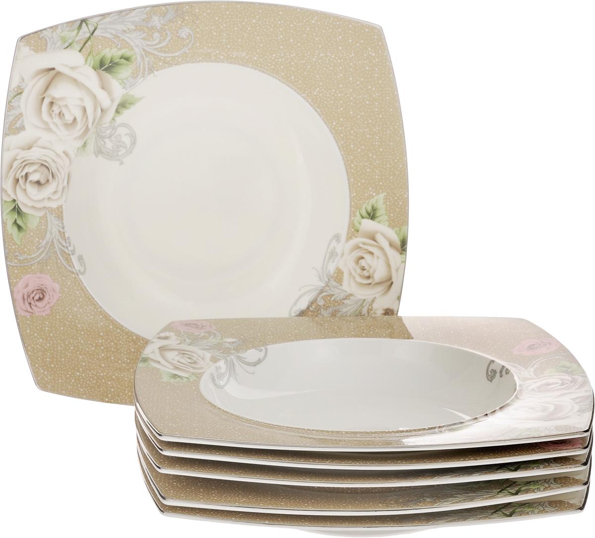 Набор тарелок Family & Friends Florance, 25 х 25 см, 6 штPR7988нНабор Family & Friends Florance, выполненный из фарфора, состоит из 6 глубоких квадратных тарелок и предназначен для красивой сервировки различных блюд. Изделия украшены цветочным рисунком. Набор сочетает в себе стильный дизайн с максимальной функциональностью. Оригинальность оформления придется по вкусу и ценителям классики, и тем, кто предпочитает утонченность и изящность. Внутренний диаметр тарелки: 17,5 см. Размер тарелки: 25 х 25 х 4 см.