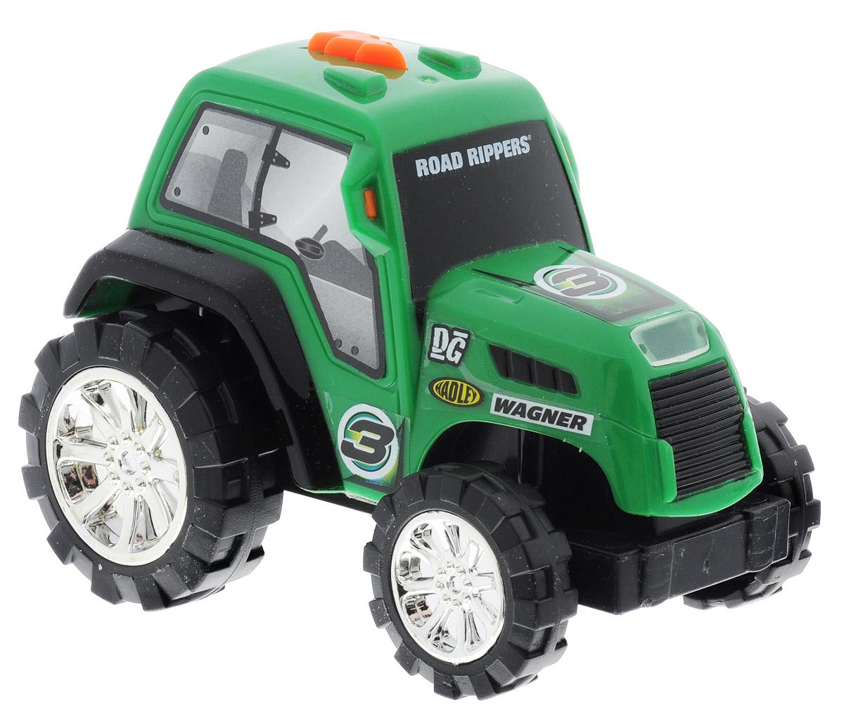 Toystate Трактор Road Rippers Flash Rides33000TS_тракторМощный трактор Toystate Road Rippers: Flash Rides со звуковыми и световыми эффектами непременно понравится вашему ребенку и не позволит ему скучать. Игрушка выполнена в виде гоночного трактора. При нажатии на кнопку, расположенную на крыше, светится фара, воспроизводятся звуки двигателя, клаксона и играет музыка. Ваш ребенок часами будет играть с машинкой, придумывая различные истории и устраивая соревнования. Порадуйте его таким замечательным подарком! Для работы игрушки необходимы 2 батарейки типа AG13 (LR44) (товар комплектуется демонстрационными).
