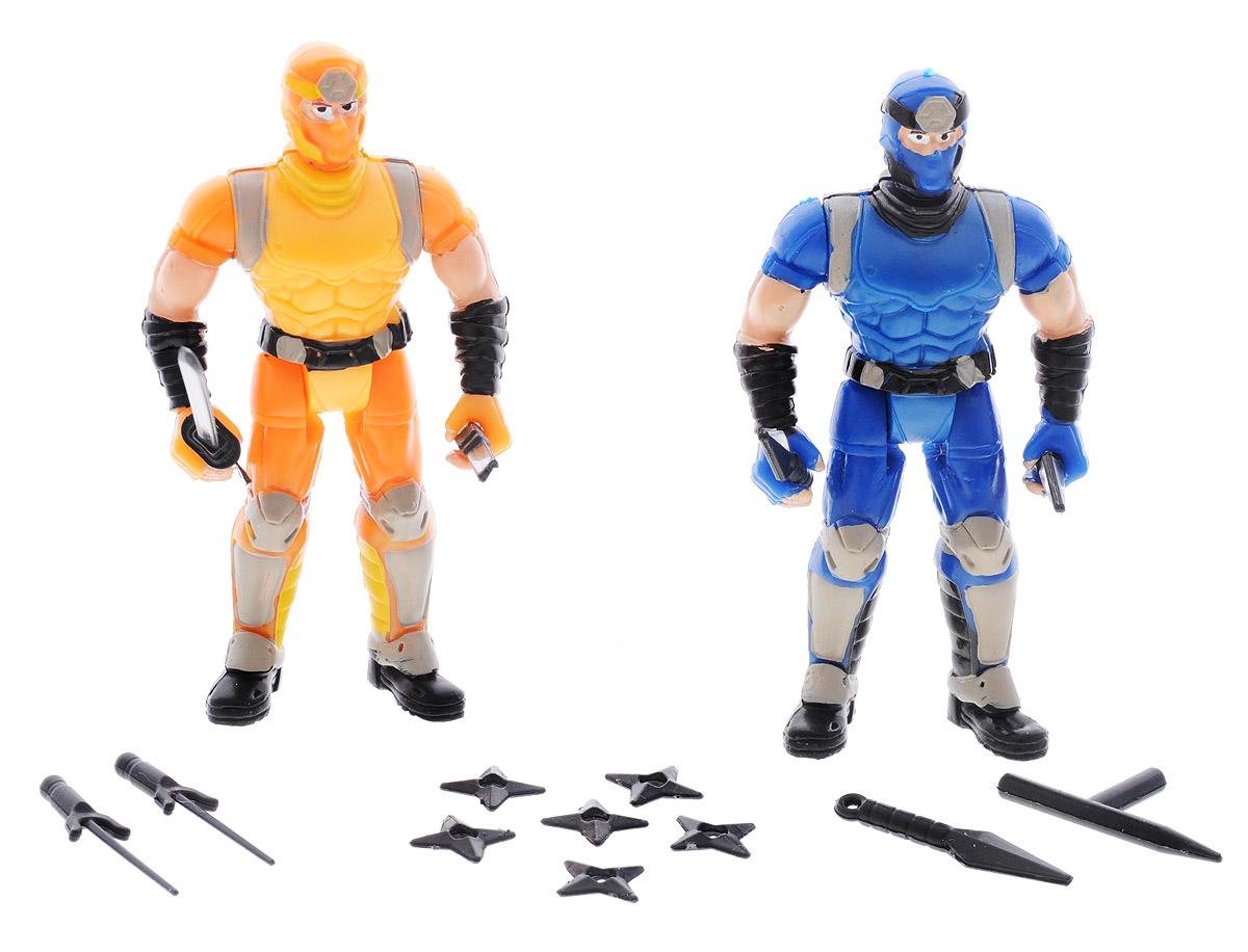 Manley Фигурки Ninja Battle цвет желтый синий59222Фигурки Manley Ninja Battle из прочного пластика желтого и синего цветов. Фигурки представляют собой двух ниндзя в масках и боевой экипировке. Руки, ноги и голова у фигурок подвижны. В наборе имеется 14 видов разнообразного оружия, которое можно использовать в схватках с врагами. Ваш ребенок с удовольствием разнообразит свои игры фигурками Ninja Battle.