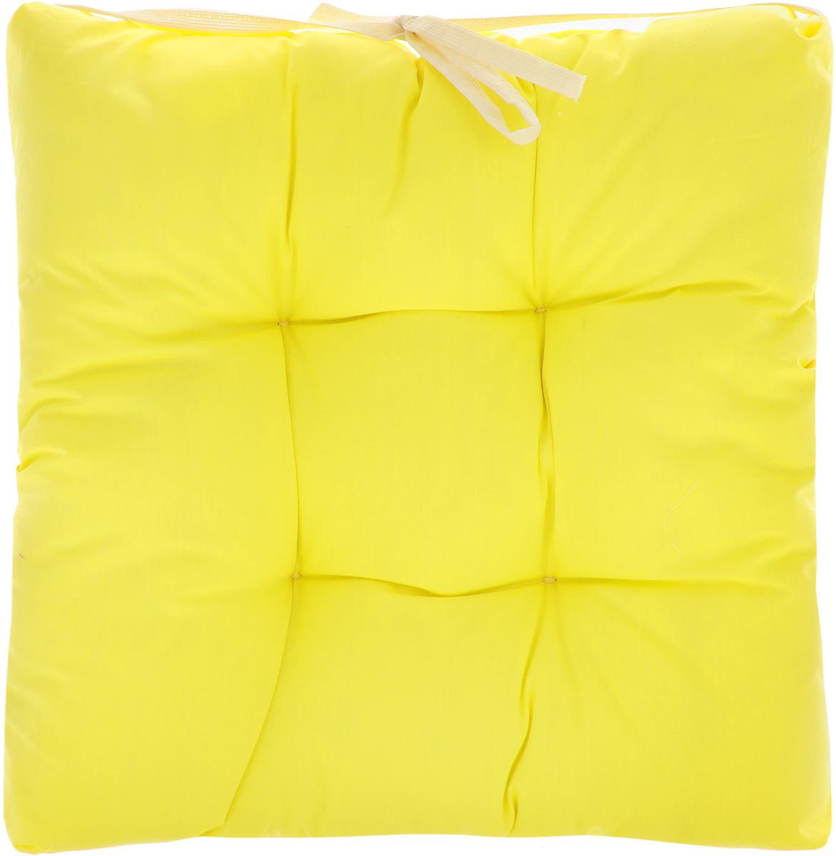 Подушка на стул Eva, объемная, цвет: желтый, 40 х 40 смЕ064_желтыйПодушка Eva, изготовленная из хлопка, прослужит вам не один десяток лет. Внутри - мягкий наполнитель из полиэстера. Стежка надежно удерживает наполнитель внутри и не позволяет ему скатываться. Подушка легко крепится на стул с помощью завязок. Правильно сидеть - значит сохранить здоровье на долгие годы. Жесткие сидения подвергают наше здоровье опасности. Подушка с наполнителем из полиэстера поможет предотвратить многие беды, которыми грозит сидячий образ жизни.