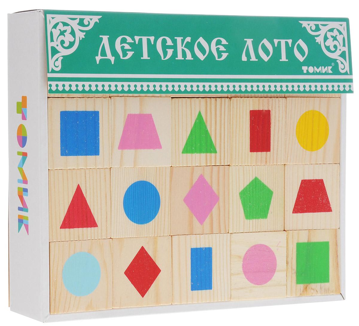 Томик Детское лото Геометрические фигуры цвет коробки зеленый6-2222-4Детское лото Томик Геометрические фигуры - это развивающая игра на основе классических правил, которая порадует малыша яркими картинками и поможет выучить названия геометрических фигур. Лото состоит из деревянных квадратных дощечек с нарисованными цветными геометрическими фигурами. Лото познакомит малыша с основными цветами и формами. Игра укрепит мелкую моторику пальчиков и кистей рук, разовьет память и внимание.