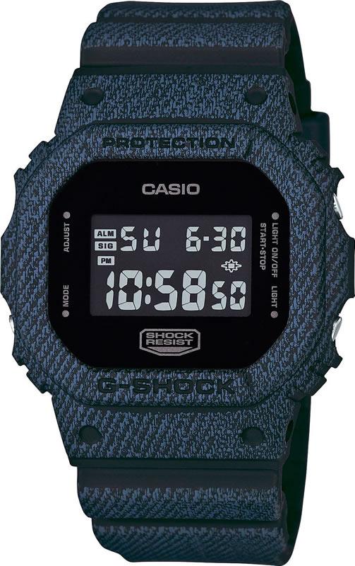 Часы наручные мужские Casio, цвет: темный джинс, черный. DW-5600DC-1EDW-5600DC-1E