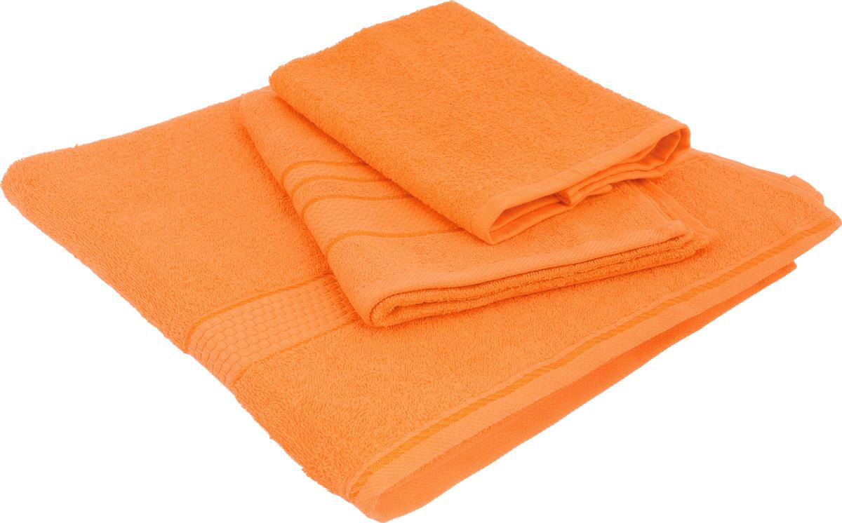 Набор махровых полотенец Aisha Home Textile, цвет: оранжевый, 3 шт. УзТ-НПБ-101-28УзТ-НПБ-101-28Набор Aisha Home Textile состоит из трех махровых полотенец разного размера. В состав входит только натуральное волокно - 100% хлопок. Лаконичные бордюры подойдут для любого интерьера ванной комнаты. Полотенца прекрасно впитывают влагу и быстро сохнут. При соблюдении рекомендаций по уходу не линяют и не теряют форму даже после многократных стирок. Комплектация: 3 шт.