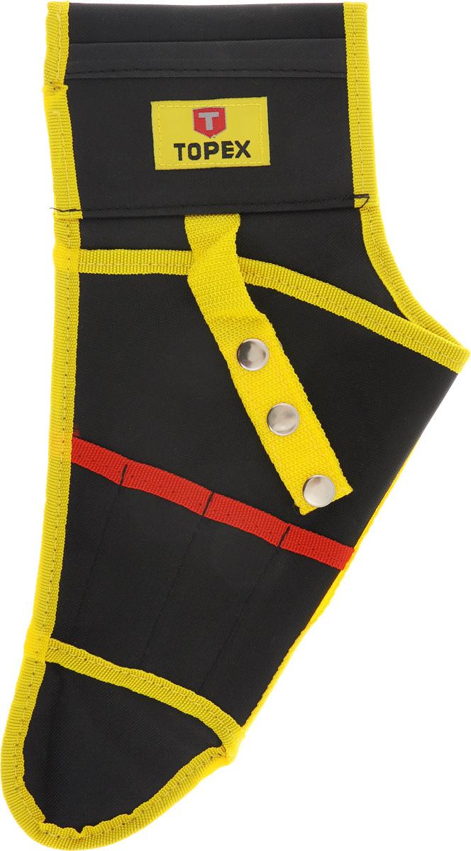 Кобура для дрели Topex, цвет: черный, красный, желтый79R416_черный, красный, желтыйКобура для дрели Торех, изготовленная из нейлона, используется для транспортировки и хранения дрели. Ее можно пристегивать к любому ремню, чтобы брать с собой, когда это необходимо. Кобура имеет 4 кармана для сверл. Размеры кобуры: 37 х 20 х 1 см.