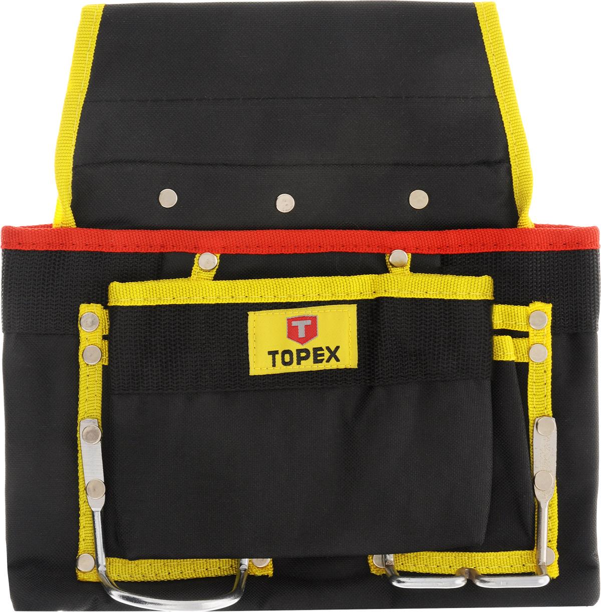 Сумка для инструментов Topex, 8 гнезд, цвет: черный, красный, желтый79R432_черный, красный, желтыйСумка для инструментов Торех, изготовленная из нейлона, используется для переноски и хранения ручного инструмента во время проведения монтажных работ. Ее можно пристегивать к любому ремню. Приспособление просто незаменимо при работе вне помещения, а также в ситуациях, где нет под рукой полки или шкафчика с инструментом. Сумка имеет 8 отделений и 2 металлические петли. Размер сумки: 28 х 29 х 6 см.