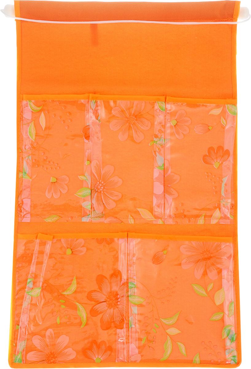 Кармашки на стену Sima-land Герберы, цвет: оранжевый, 5 отделений455709_оранжевыйКармашки на стену Sima-land Герберы, изготовленные из текстиля, предназначены для хранения необходимых вещей, множества мелочей в гардеробной, ванной или детской. Изделие представляет собой полотно с 5 пришитыми кармашками из ПВХ, декорированными изображением цветов. Благодаря пластиковой трубке и шнурку, кармашки можно подвесить на стену или дверь в необходимом для вас месте. Этот нужный предмет может стать одновременно и декоративным элементом комнаты. Размеры изделия: 45 х 29 см. Размеры кармашков: 9 х 16 см; 9,5 х 16 см; 13,5 х 17 см; 14 х 17 см.