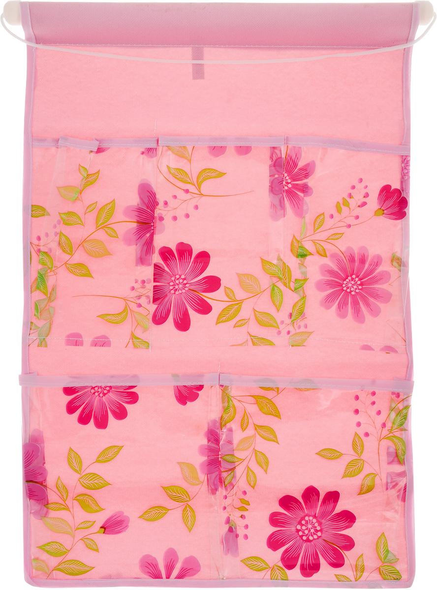 Кармашки на стену Sima-land Герберы, цвет: розовый, 5 отделений455709_розовыйКармашки на стену Sima-land Герберы, изготовленные из текстиля, предназначены для хранения необходимых вещей, множества мелочей в гардеробной, ванной или детской. Изделие представляет собой полотно с 5 пришитыми кармашками из ПВХ, декорированными изображением цветов. Благодаря пластиковой трубке и шнурку, кармашки можно подвесить на стену или дверь в необходимом для вас месте. Этот нужный предмет может стать одновременно и декоративным элементом комнаты. Размеры изделия: 45 х 29 см. Размеры кармашков: 9 х 16 см; 9,5 х 16 см; 13,5 х 17 см; 14 х 17 см.