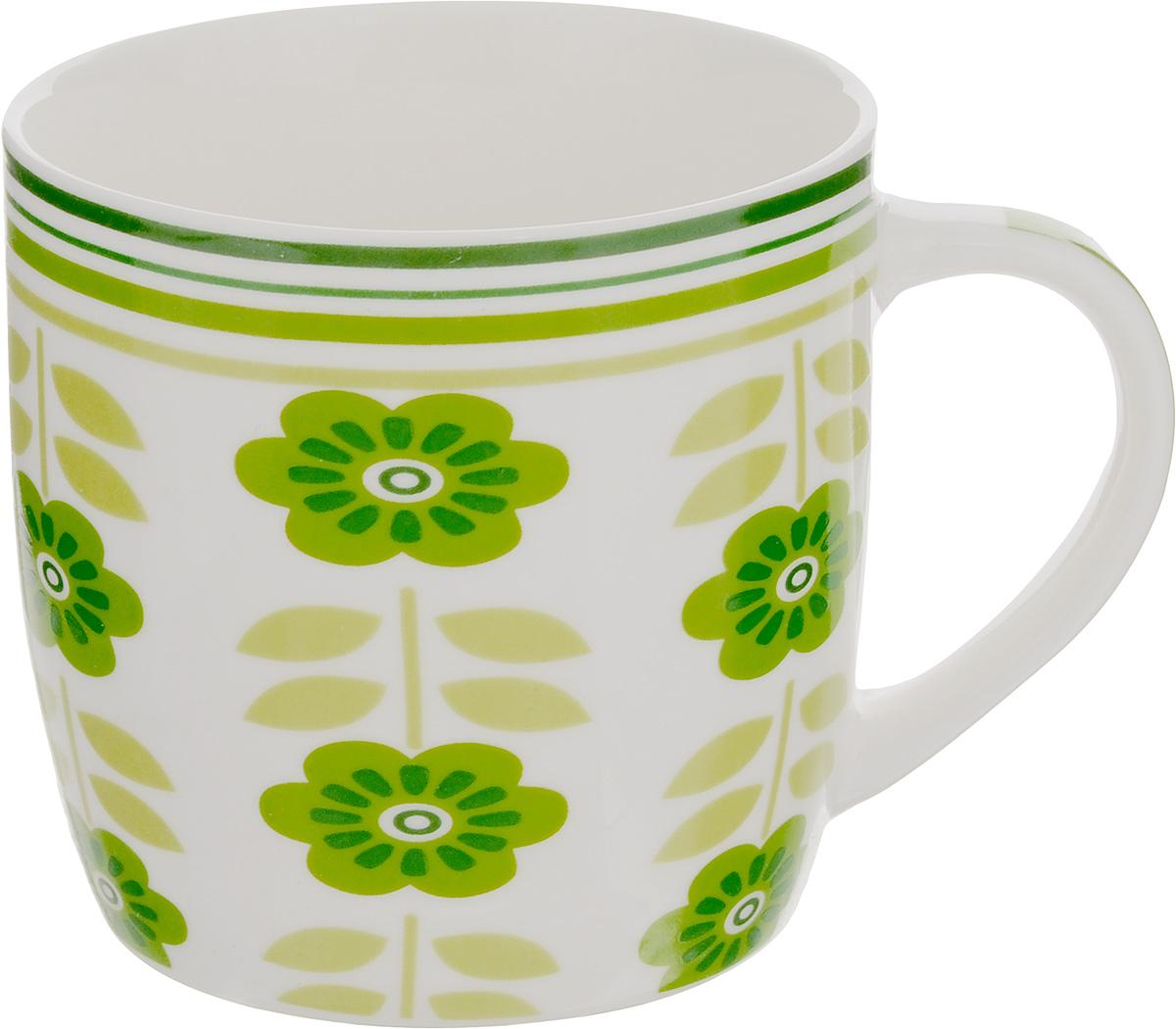 Кружка Loraine Цветы, 320 мл24474_белый, зеленыйОригинальная кружка Loraine Цветы выполнена из костяного фарфора и оформлена красочным изображением. Она станет отличным дополнением к сервировке семейного стола и замечательным подарком для ваших родных и друзей. Диаметр кружки (по верхнему краю): 8,5 см. Высота кружки: 8,4 см.