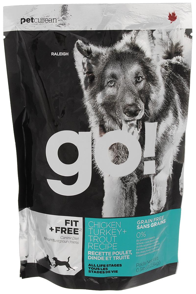"""Корм сухой для собак """"Go!"""", беззерновой, с индейкой, курицей, уткой и лососем, 230 г"""