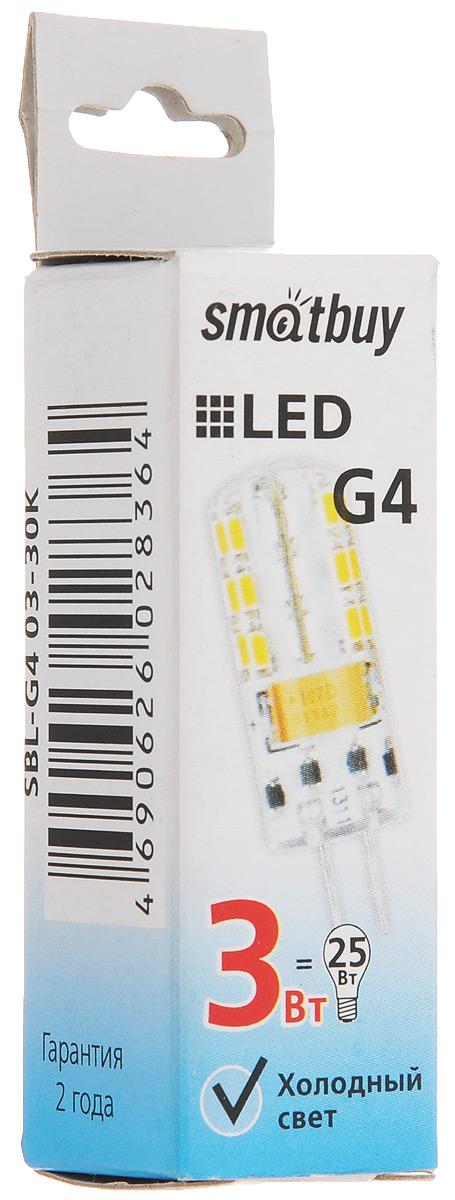 Лампа светодиодная Smartbuy, холодный свет, цоколь G4, 3 ВтSBL-G4 03-40KСветодиодная лампа Smartbuy G4 - энергосберегающая лампа рассеянного света в силиконовой капсуле, которая широко используется в помещениях: в различных точечных потолочных светильниках, для украшения витрин, в рекламных конструкциях, вывесках и многом другом. Такие лампы-рефлекторы особенно популярны в подвесных потолках. Коэффициент цветопередачи обеспечивается на уровне Ra>80. Особенности: - Хорошая цветопередача. - Отсутствие мерцания обеспечивает меньшую утомляемость глаз. - Высокоэффективный драйвер обеспечивает стабильную работу. - Устойчивость к механическому воздействию. - Большой срок службы - 30 000 часов работы. - Широкий рабочий температурный режим от -25° до +45°С. - Не содержит ртуть, экологически безопасна. Тип колбы: G4. Световой поток: 180 Лм. Частота: 50 Гц. Индекс цветопередачи: RA>80. Напряжение: 12 В. Коэффициент мощности: 0,06.
