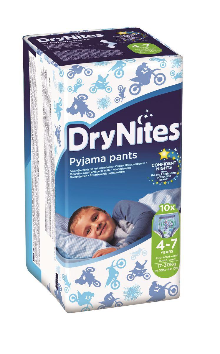 Huggies Подгузники-трусики для мальчиков DryNites 4-7 лет 10 шт2141081Деликатная защита на всю ночь для детей от четырех лет, страдающих энурезом. Одноразовые Трусики Huggies Dry Night для мальчиков 4-7 лет (17-30 кг) мягкие на ощупь, тонкие и незаметные, по выкройке, расцветке и рисункам на них напоминают обычное нижнее белье. Специальный впитывающий слой, расположение и распределение которого учитывает анатомические особенности мальчиков, и защитные барьерчики позволяют обеспечивать надежную защиту на всю ночь. Благодаря эластичным вставкам по бокам трусики комфортны и хорошо сидят. Они не протекают, поэтому теперь родителям не придется вставать среди ночи, чтобы сменить постель и пижаму ребенка. Особенности: ночные трусики для детей, страдающих недержанием; впитывающий слой и защитные барьерчики обеспечивают надежную защиту на всю ночь; по выкройке и по расцветке напоминают обычное нижнее белье; специальный дизайн для мальчиков.
