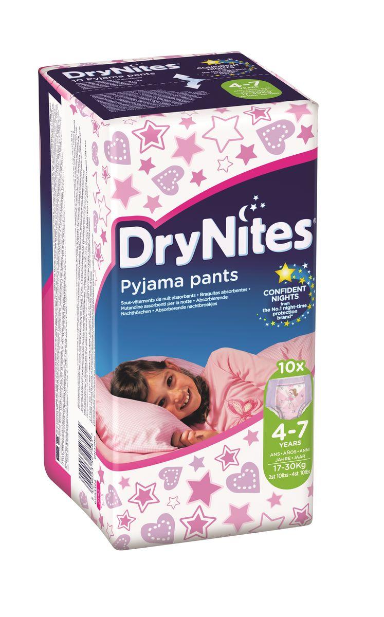 Huggies Подгузники-трусики для девочек DryNites 4-7 лет 10 шт2142081Деликатная защита на всю ночь для детей от четырех лет, страдающих энурезом. Одноразовые Трусики Huggies Dry Night для девочек 4-7 лет (17-30 кг) мягкие на ощупь, тонкие и незаметные, по выкройке, расцветке и рисункам на них напоминают обычное нижнее белье. Специальный впитывающий слой, расположение и распределение которого учитывает анатомические особенности мальчиков, и защитные барьерчики позволяют обеспечивать надежную защиту на всю ночь. Благодаря эластичным вставкам по бокам трусики комфортны и хорошо сидят. Они не протекают, поэтому теперь родителям не придется вставать среди ночи, чтобы сменить постель и пижаму ребенка. Особенности: ночные трусики для детей, страдающих недержанием; впитывающий слой и защитные барьерчики обеспечивают надежную защиту на всю ночь; по выкройке и по расцветке напоминают обычное нижнее белье; специальный дизайн для девочек.